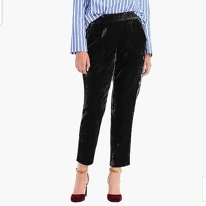 J. Crew easy pull up velvet pants in black